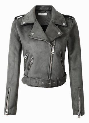 Женская замшевая куртка косуха серая