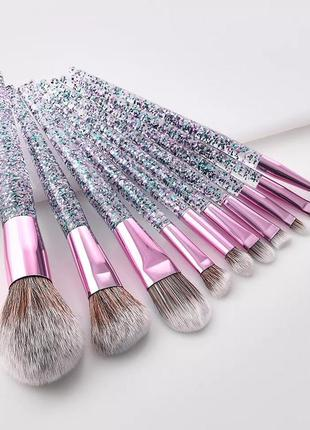 Кисти для макияжа набор 10 шт. shimmer green/purple/grey probe...
