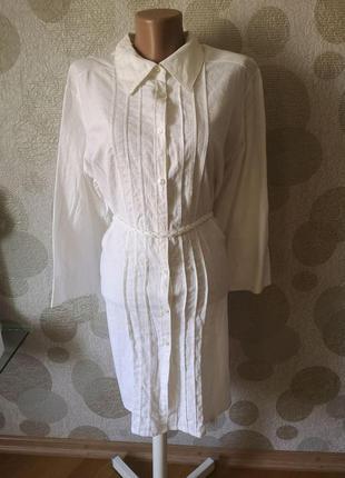 Льняное белое  платье рубашка миди  туника  большого размера  ...