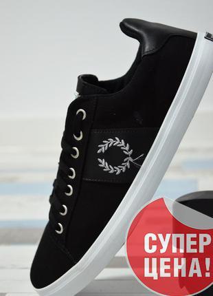 Осенние кеды fred perry (фред перри) на шнуровке с логотипом
