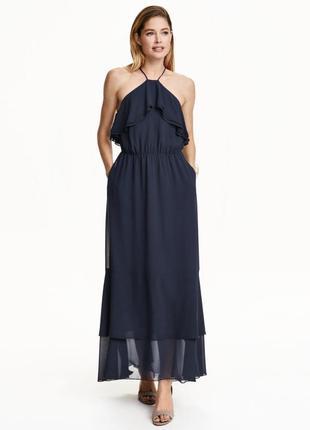 Роскошное длинное шифоновое платье р.l/xl h&m, на подкладке