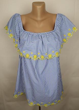 Блуза новая стильная в полоску с кружевом papaya uk 20/48/3xl