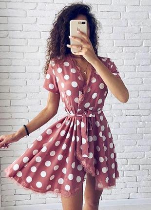 Очень красивое новое платье в горохи с кружевом tila/n