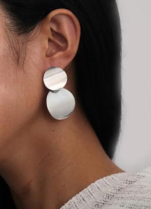 Винтажные серьги в стиле ретро серебряные круглые кольца масси...