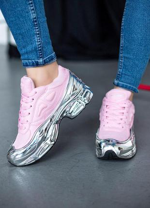 Кожаные женские кроссовки adidas raf simons розовый цвет (весн...