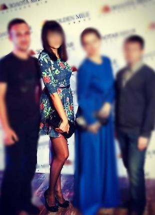 Платье, платье в цветах, серо-синие платье
