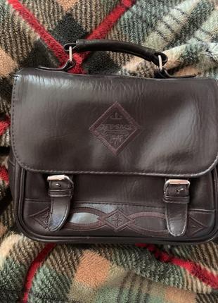 Кожаная коричневая сумочка, коричневая сумка, винтажная сумка,...