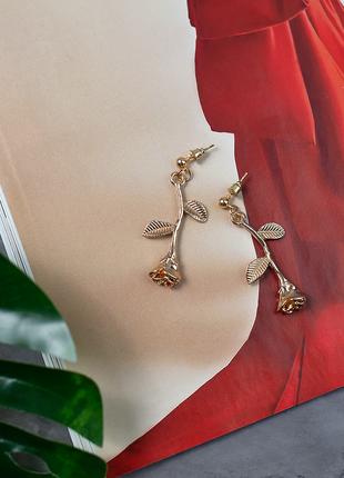 Серьги сережки розочки розы цвета золотые золотистые гвоздики ...