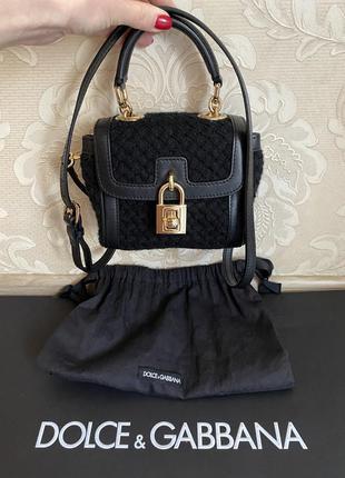 Dolce and gabbana оригинал италия черная кожаная сумка мини