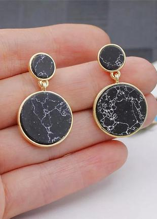 Мраморные серьги гвоздики круглые кольца с мрамором черные белые