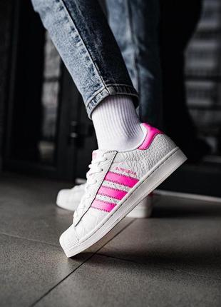 Женские кожаные белые кроссовки/ кеды adidas superstar адидас ...