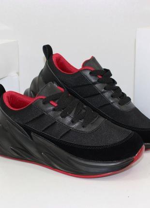 Скидка! модные женские массивные кроссовки на платформе черные...
