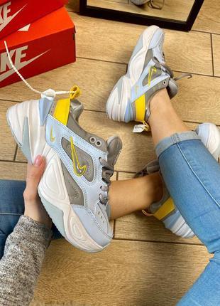 Nike m2k tekno кожаные женские кроссовки (весна-лето-осень)😍