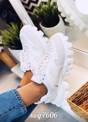 Белые кроссовки на тракторной подошве кросівки кроси кроссы