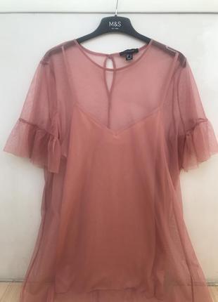 Розовое платье сетка