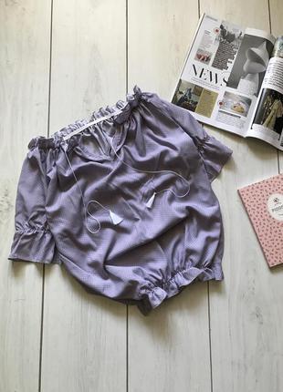 Лавандовая блуза в горох на резинке