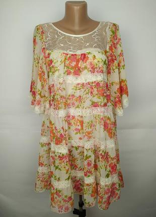 Платье туника красивое в розы кружево шифон lipsy uk 8/36/xs