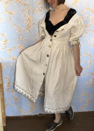 Льняное винтажное платье
