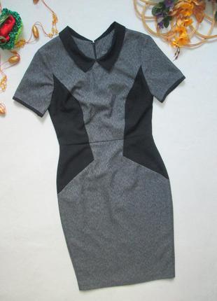 Классное стильное деловое офисное меланжевое платье футляр с в...
