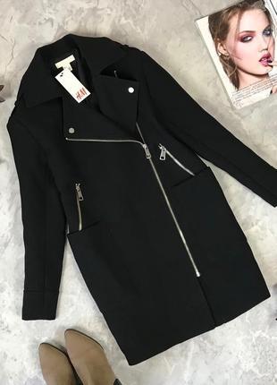 Стильное пальто-косуха с накладными карманами теплое с подкладкой