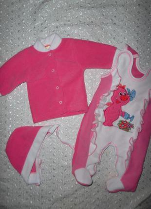 Теплый комплект на девочку розовый 40р