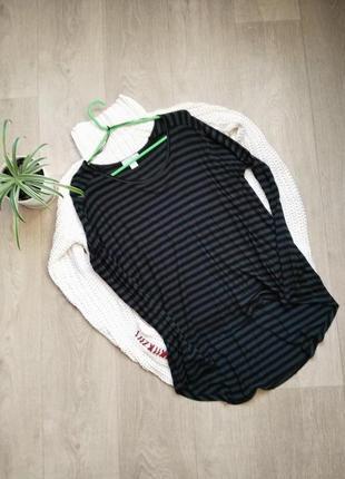 Базовая удлиненная блуза в полоску