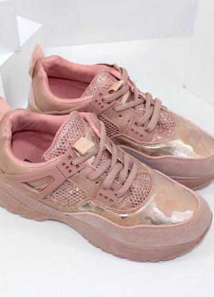 Модные женские розовые блестящие кроссовки на платформе