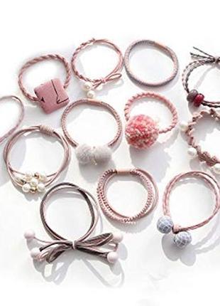 Набор красивых и ярких резинок для волос, розовые, фиолетовые,...