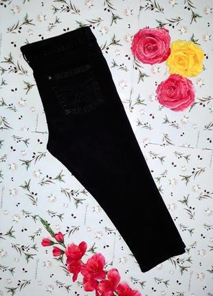 🎁1+1=3  черные фирменные узкие зауженные джинсовые бриджи deni...