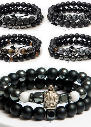 Стильный браслет из натуральных камней шунгит мужской женский