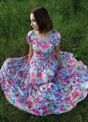 Летнее женское  платье в пол