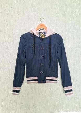 Жіноча синя куртка вітровка з капюшоном італійського бренду tirdy