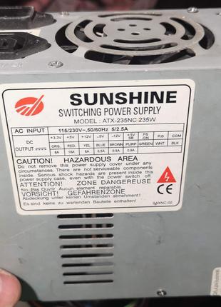 Блок питания ATX 235W  Sunshine switching power supply ATX-235NC