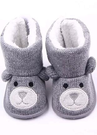 Пинетки тапочки для малыша первая обувь с мишками 3-6мес