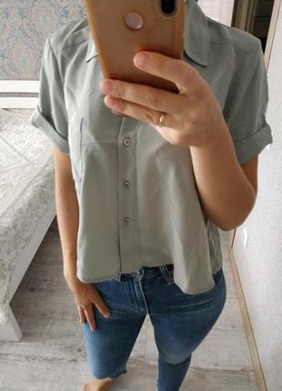 Нежная укороченная блуза, рубашка серо-мятного цвета