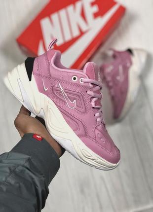 Кожаные женские кроссовки nike m2k розовый цвет (весна-лето-ос...