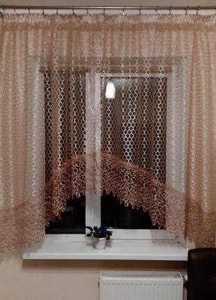 Кухонная арка тюль с бахромой