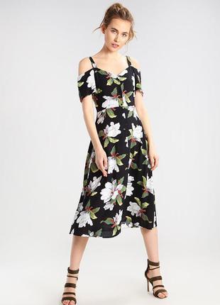 Платье с красивейшим принтом магнолий warehouse чорне плаття м...