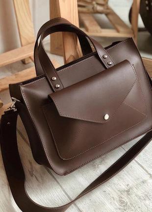 Коричневая сумка шоппер с карманом