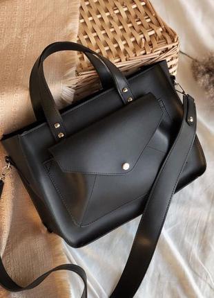 Черная сумка шоппер с карманом