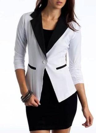 Базовый белый пиджак блейзер жакет укороченный рукав р.52