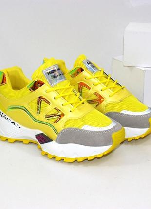 Яркие женские желтые кроссовки
