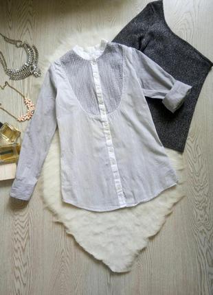 Белая серая рубашка хлопок в полоску без воротника жемчугом па...