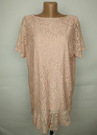 Блуза розовая нарядная кружевная итальянская вискоза uk 16/44/xl