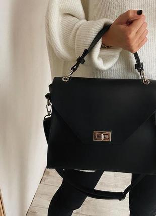 Винтажная сумка трапеция черная