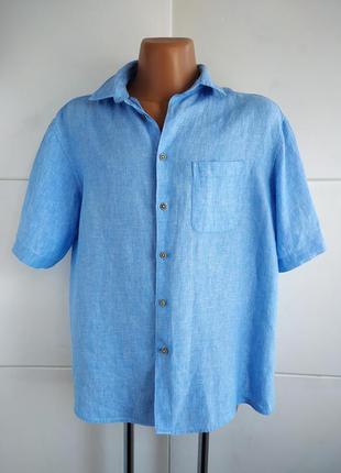 Льняная мужская рубашка marks&spencer голубого цвета