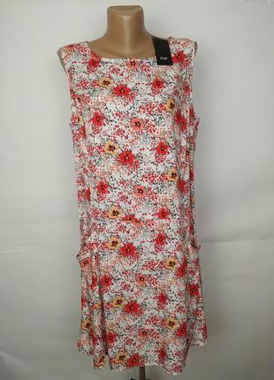 Платье новое натуральное легкое в маки штапиль f&f uk 14/42/l