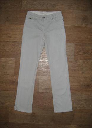 Классические джинсы, прямой крой, средняя посадка, светло-серы...