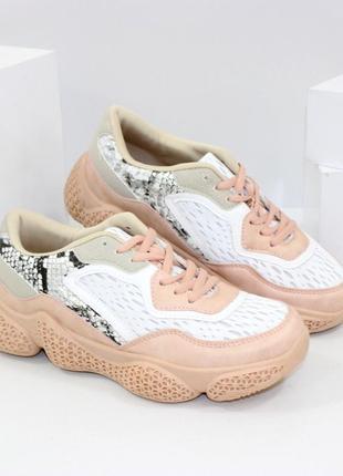 Стильные женские персиковые пудровые кроссовки