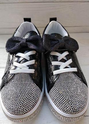 Нарядные кроссовки кеды для девочки со стразами р.26-26 наложк...